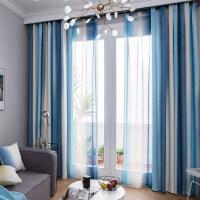 窗帘成品简约现代地中海美式条纹田园北欧遮光卧室客厅书房飘窗帘