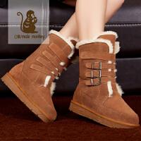 公猴新款雪地靴皮靴中筒靴棉鞋女靴子加厚冬靴平底欧美雪地靴