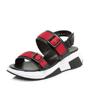 Teenmix/天美意2018夏专柜同款移膜二层牛皮厚底女凉鞋CDP03BL8