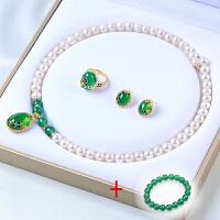 淡水珍珠项链配红绿玛瑙戒指耳钉三件套装送妈妈婆婆长辈生日礼物 8-9mm