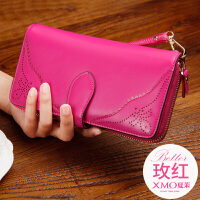女士钱包长款2018新款拉链真皮大容量多功能韩版复古手拿钱夹女SN1062 玫红色 Q92