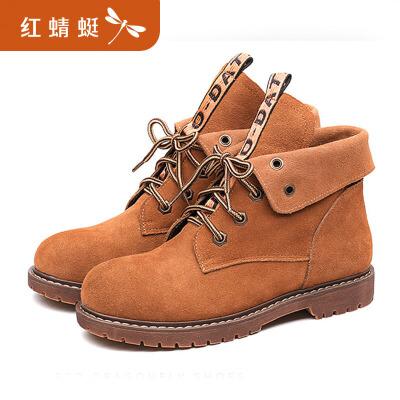 红蜻蜓女鞋冬季新款正品休闲圆头马丁靴子女皮靴平跟短靴