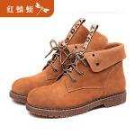 【领�幌碌チ⒓�120】红蜻蜓女鞋冬季新款正品休闲圆头马丁靴子女皮靴平跟短靴