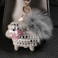 镶钻狐狸毛球韩国创意真皮汽车钥匙扣链可爱女士包包扣挂件车内饰