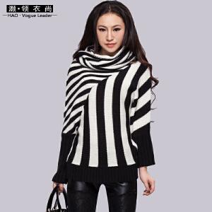 秋冬高领堆领蝙蝠针织衫长袖厚款宽松时尚形状撞色保暖毛衣