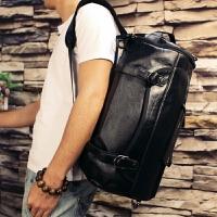 真皮休闲型男潮包大容量圆筒旅行双肩背包个性潮流牛皮水桶手提包 黑色