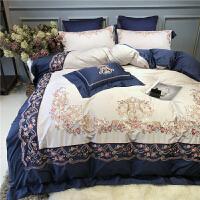 刺绣80支双股长绒棉贡缎四件套全棉被套柔软裸睡纯棉床品1.8m 蔷薇花园