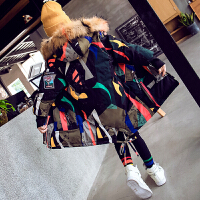 女童外套中大童女孩洋气棉袄儿童中长款加厚棉衣冬装 花色