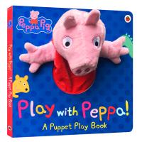 小猪佩奇 Peppa Pig 粉红猪小妹 大型手偶纸板书英文原版 Play with Peppa Hand Puppet Book 手偶小剧场 好习惯养成书 英文版进口