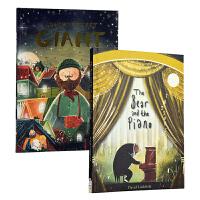 熊与钢琴发声书+爷爷的秘密巨人 英文原版 The Bear and the Piano/Grandad's Secret Giant大熊和钢琴 森林里的钢琴师 精装音乐书 亲子共读故事绘本图画书