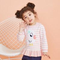 【全场2件2.5折,到手价:49.8】moomoo童装女童毛衣2019新款春装纯棉条纹小儿童宝宝套头毛衫