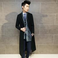 冬季新款加长男士休闲毛呢子大衣韩版修身超长款风衣过膝男装外套 黑色