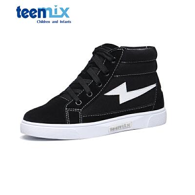 天美意童鞋儿童休闲鞋秋新款女童时尚高帮运动鞋男童帆布鞋 DX0202