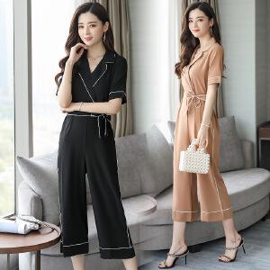 2018春装新款时尚套装垂感阔腿裤连体裤女夏高腰 显瘦套装女韩版