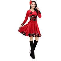 广场舞服装套装 女健身服家居服舞蹈用品中老年跳舞衣演出服 大红裙子套装 5XL