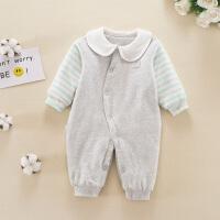 初生婴儿连体衣春秋冬季夹棉新生儿衣服0-3个月6保暖宝宝哈衣
