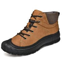 棉鞋男冬季保暖加绒加厚真皮厚底户外运动休闲高帮皮鞋