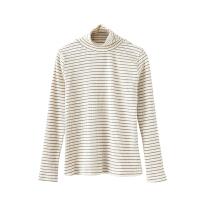 韩版春季百搭弹力修身显瘦长袖T恤女条纹高领上衣打底衫秋冬