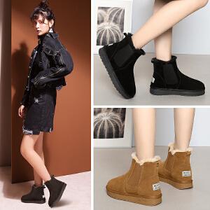 公猴雪地靴女冬季新款舒适时尚加绒短靴加厚棉鞋韩版百搭学生保暖棉靴