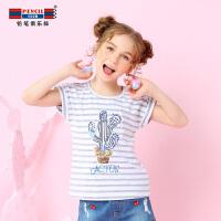 【每满100减50】铅笔俱乐部童装2018夏季新款女童短袖T恤中大童条纹体恤女孩夏装