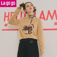 【5折价74.5】Lagogo/拉谷谷2017年冬季新款时尚圆领亮片长袖针织衫