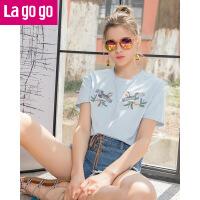 Lagogo2019夏新款短袖t恤韩范圆领女装刺绣下摆开衩chic上衣潮HATT314G74