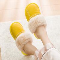 海宁皮拖鞋女冬季居家居室内家用男士保暖情侣防滑棉拖鞋加绒