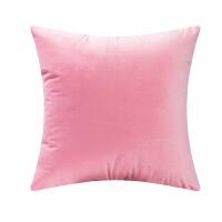 新款天鹅绒纯色简约靠枕现代毛绒绒 沙发大靠垫床上抱枕靠背垫 粉红色 H-41粉色