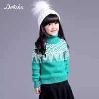 笛莎童装女童针织衫冬款新款高领纯棉好搭儿童中大童毛衣上衣