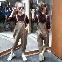 女童背带裤秋装套装新款潮韩版中大儿童时髦夏装宽松洋气时尚