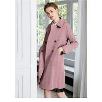 颜域女装2018秋冬季新款英伦女士双面呢羊毛大衣女中长款毛呢外套