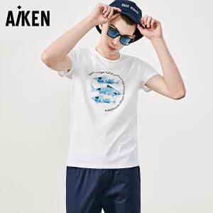 森马旗下Aiken短袖T恤男士夏装新款圆领半袖体恤男生潮牌印花清新青年