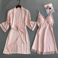性感睡衣女夏吊带睡裙两件套冰丝带胸垫蕾丝睡袍短袖家居服套装薄