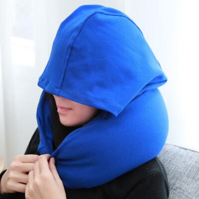 征伐 u型枕 户外旅行充气枕头旅游便携午睡护颈枕飞机靠枕靠垫腰靠 带帽子 内置泡沫颗粒慢回弹
