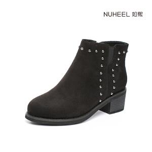 如熙2017冬季新款女靴圆头靴子切尔西靴粗跟中跟鞋子韩版女鞋短靴
