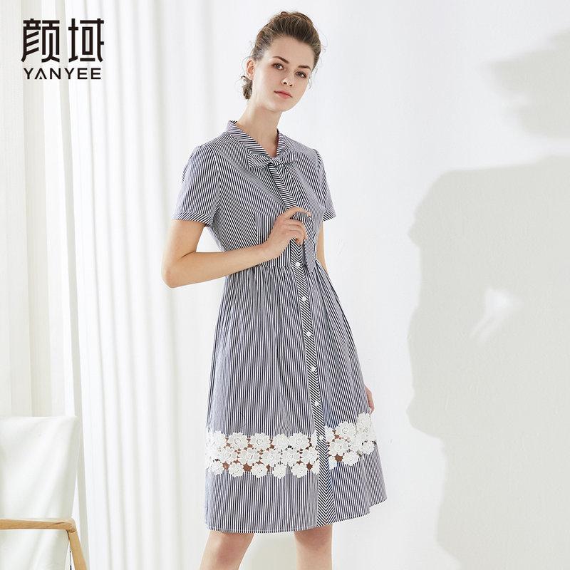 颜域新款蝴蝶结领条纹连衣裙中长款系带收腰通勤裙子2018新款夏装