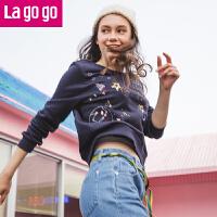 【秒杀价79.8】Lagogo/拉谷谷2019你那冬季新款时尚刺绣钉珠长袖卫衣