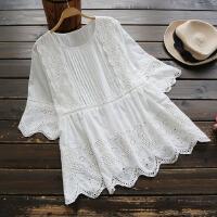 3930新款2018夏季女装日系镂空蕾丝刺绣圆领衬衫娃娃衫上衣 白色 单一码