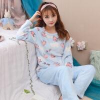 韩版珊瑚绒睡衣女秋冬季可爱学生女士加厚保暖可外穿居家休闲套装