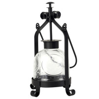 欧式复古铁艺玻璃烛台摆件婚庆蜡烛台灯浪漫晚餐手提马灯客厅摆饰