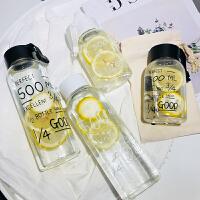夏季新款便捷提绳韩版简约英文创意男女马克杯学生玻璃杯随手水杯