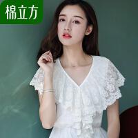 收腰荷叶边蕾丝衫女夏装2018新款棉立方气质短袖白色时尚修身上衣