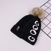 儿童帽子秋冬男童珊瑚绒毛线帽婴儿女宝宝可爱公主针织帽1-2-3岁 黑色 贴标K 均码