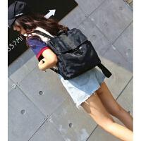 时尚男士背包牛津布双肩包女韩版双肩韩大号街头潮流 黑迷彩小号可放书和2-4件T恤 高36cm