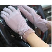 新款防晒手套女袖套蕾丝开车防紫外线薄款遮阳手臂套