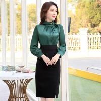 中腰连衣裙长袖拼接中长款2018年春季简约气质时尚都市OL一步裙潮 绿色 M