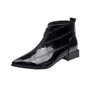 WARORWAR新品YM29-3188A秋冬欧美漆皮低跟女士靴子短靴