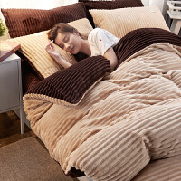 珊瑚绒四件套加厚双面绒法莱法兰绒床单加绒被套冬天兔兔毛绒冬季 威尼斯f 2.2m(7英尺)床