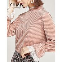 【清仓88元】YHMW衬衫女2019秋季新款百搭设计感喇叭袖套头心机上衣潮