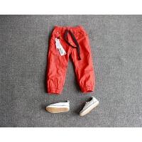 男女童秋冬季橙红色双层加绒加厚保暖棉裤长裤休闲裤收脚款